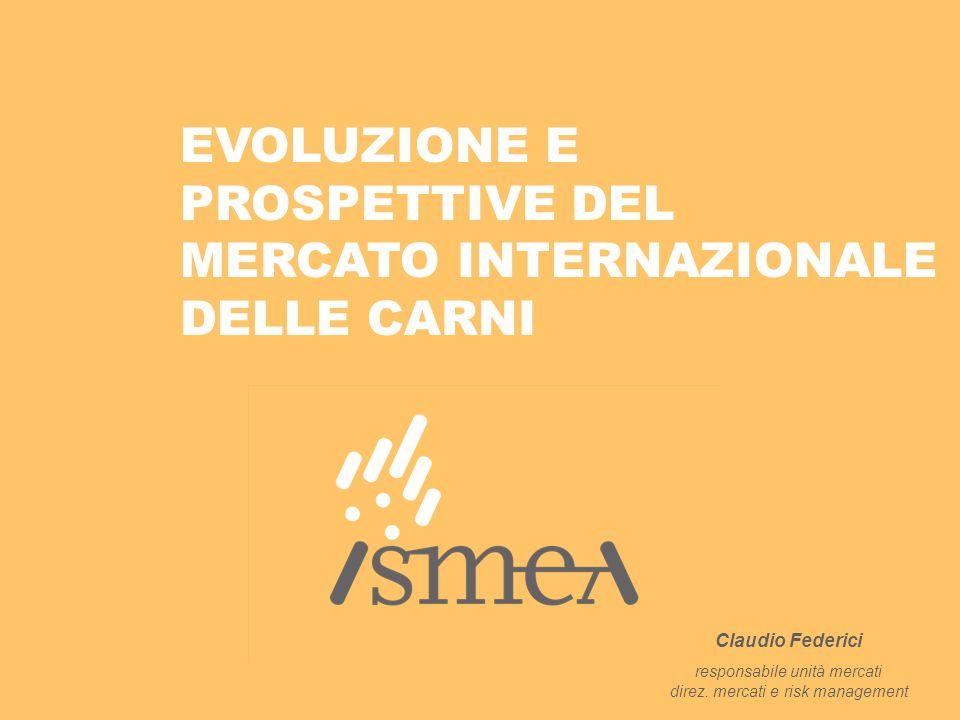 EVOLUZIONE E PROSPETTIVE DEL MERCATO INTERNAZIONALE DELLE CARNI Claudio Federici responsabile unità mercati direz. mercati e risk management