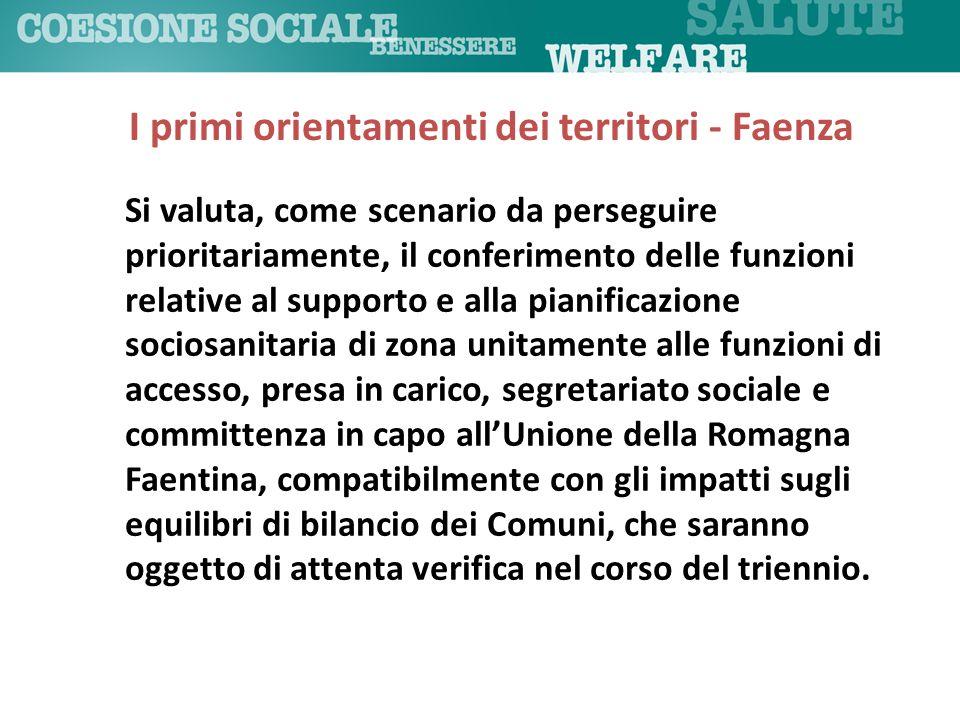 Si valuta, come scenario da perseguire prioritariamente, il conferimento delle funzioni relative al supporto e alla pianificazione sociosanitaria di z