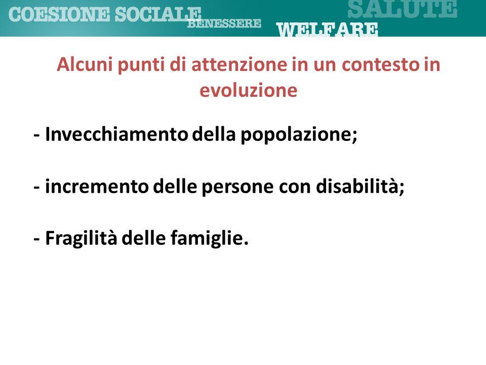 - Invecchiamento della popolazione; - incremento delle persone con disabilità; - Fragilità delle famiglie. Alcuni punti di attenzione in un contesto i