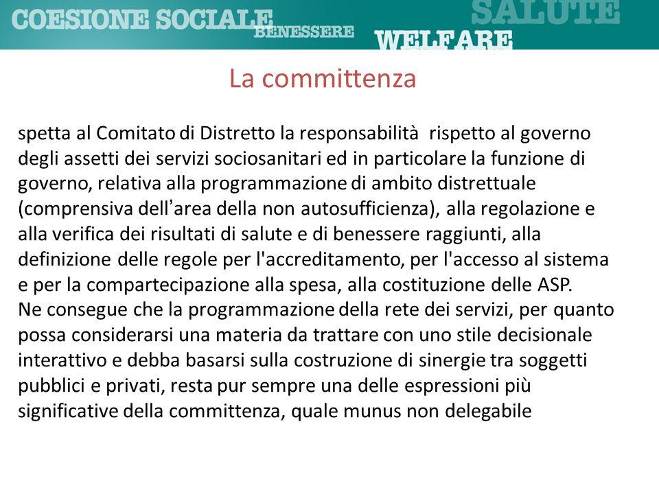 spetta al Comitato di Distretto la responsabilità rispetto al governo degli assetti dei servizi sociosanitari ed in particolare la funzione di governo