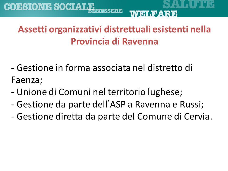 - Gestione in forma associata nel distretto di Faenza; - Unione di Comuni nel territorio lughese; - Gestione da parte dell'ASP a Ravenna e Russi; - Ge