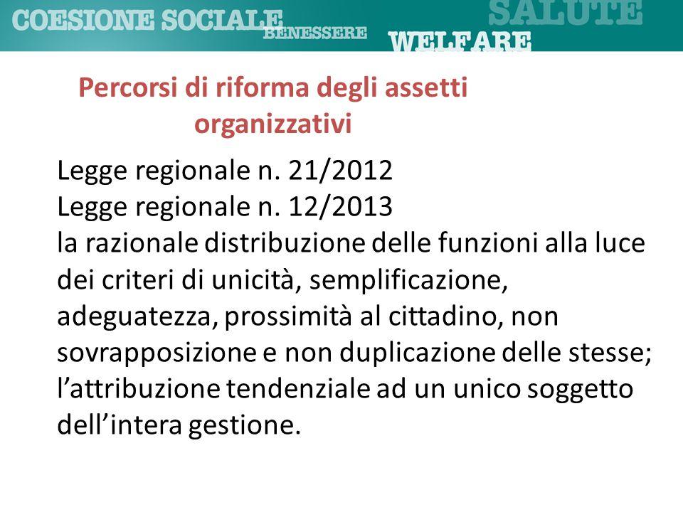 Legge regionale n. 21/2012 Legge regionale n. 12/2013 la razionale distribuzione delle funzioni alla luce dei criteri di unicità, semplificazione, ade