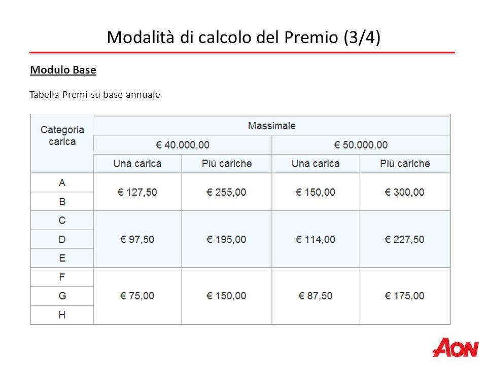 Tabella Premi su base annuale Modalità di calcolo del Premio (3/4) Modulo Base