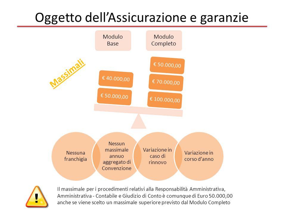 Modulo Base Modulo Completo € 100.000,00€ 70.000,00€ 50.000,00 € 40.000,00 Massimali Oggetto dell'Assicurazione e garanzie Nessuna franchigia Nessun massimale annuo aggregato di Convenzione Variazione in caso di rinnovo Variazione in corso d'anno Il massimale per i procedimenti relativi alla Responsabilità Amministrativa, Amministrativa - Contabile e Giudizio di Conto è comunque di Euro 50.000,00 anche se viene scelto un massimale superiore previsto dal Modulo Completo