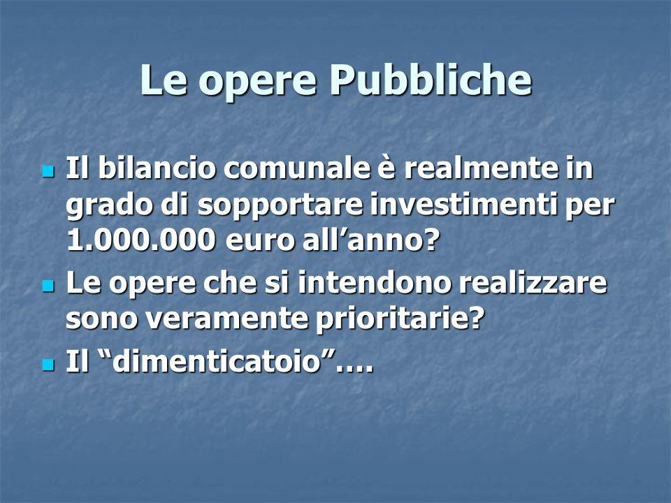 Le opere Pubbliche Il bilancio comunale è realmente in grado di sopportare investimenti per 1.000.000 euro all'anno.