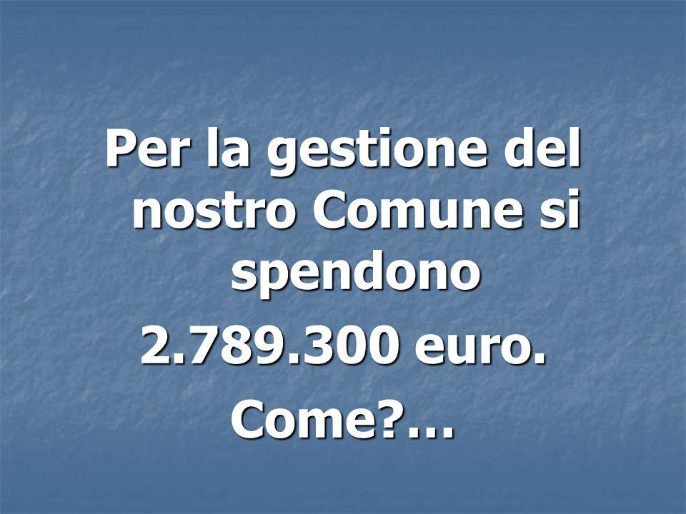 Per la gestione del nostro Comune si spendono 2.789.300 euro. Come …