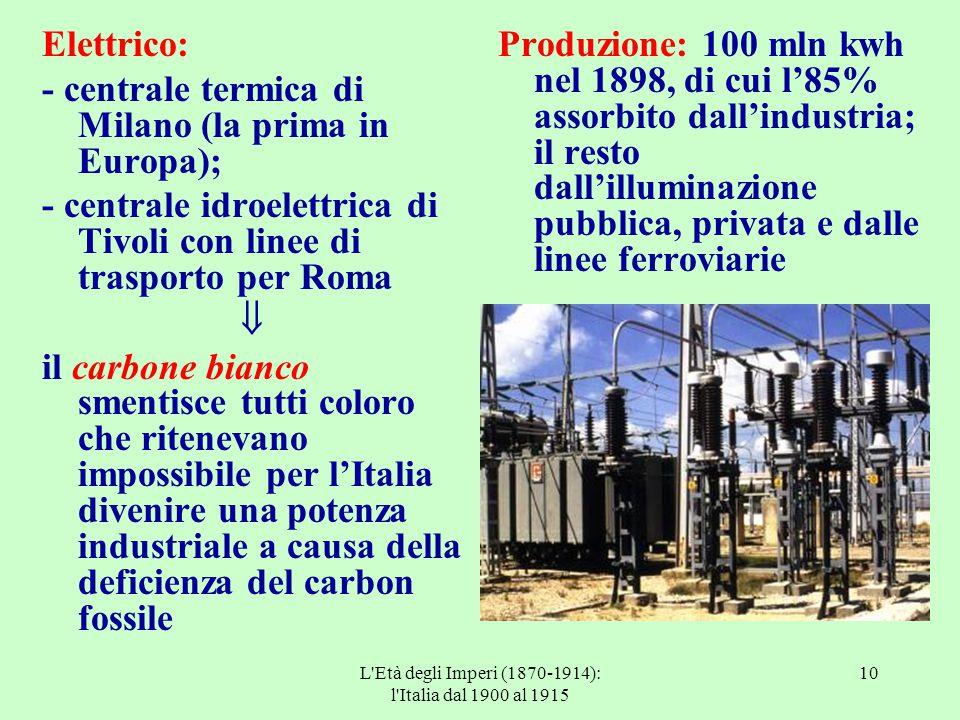 L'Età degli Imperi (1870-1914): l'Italia dal 1900 al 1915 10 Elettrico: - centrale termica di Milano (la prima in Europa); - centrale idroelettrica di