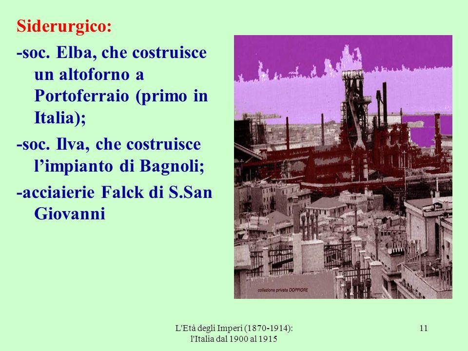 L'Età degli Imperi (1870-1914): l'Italia dal 1900 al 1915 11 Siderurgico: -soc. Elba, che costruisce un altoforno a Portoferraio (primo in Italia); -s