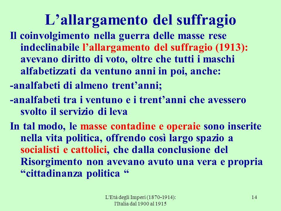 L'Età degli Imperi (1870-1914): l'Italia dal 1900 al 1915 14 L'allargamento del suffragio Il coinvolgimento nella guerra delle masse rese indeclinabil