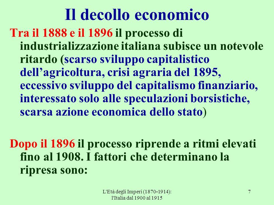 L'Età degli Imperi (1870-1914): l'Italia dal 1900 al 1915 7 Il decollo economico Tra il 1888 e il 1896 il processo di industrializzazione italiana sub