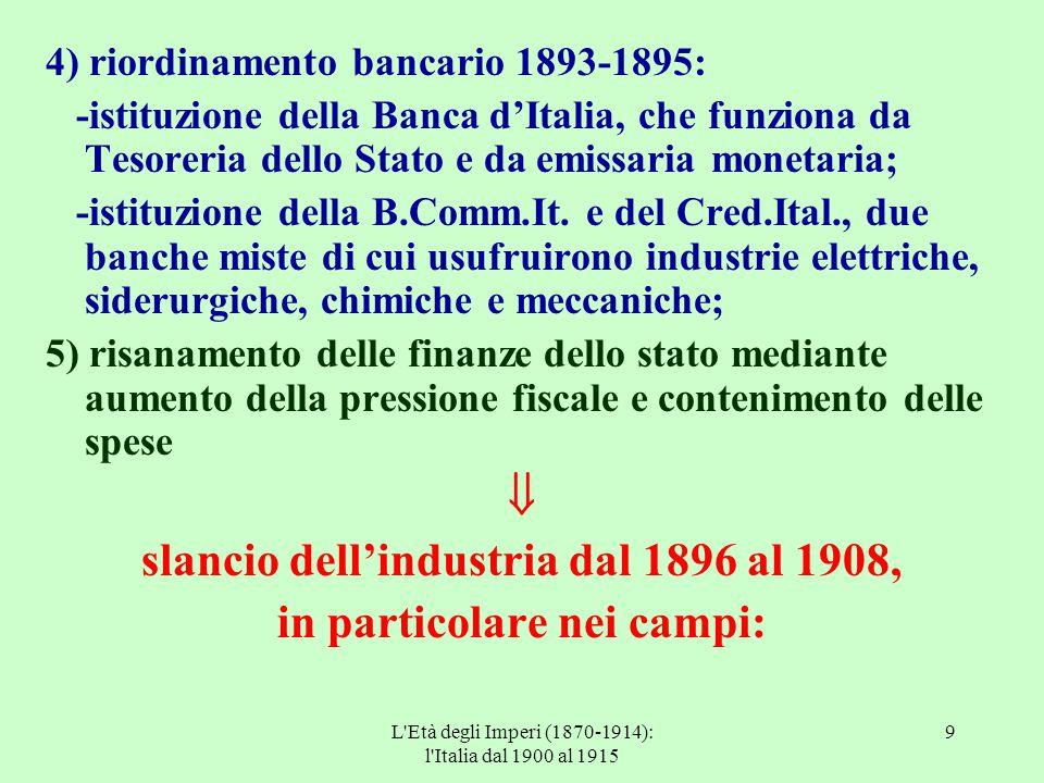 L'Età degli Imperi (1870-1914): l'Italia dal 1900 al 1915 9 4) riordinamento bancario 1893-1895: -istituzione della Banca d'Italia, che funziona da Te