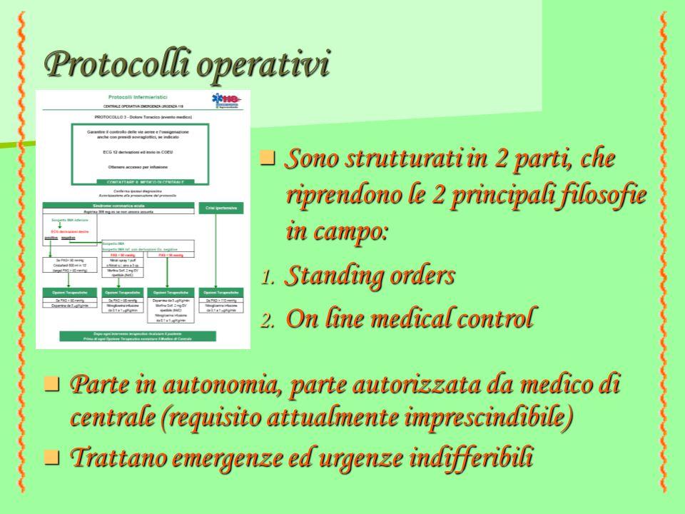 Protocolli operativi Parte in autonomia, parte autorizzata da medico di centrale (requisito attualmente imprescindibile) Parte in autonomia, parte aut
