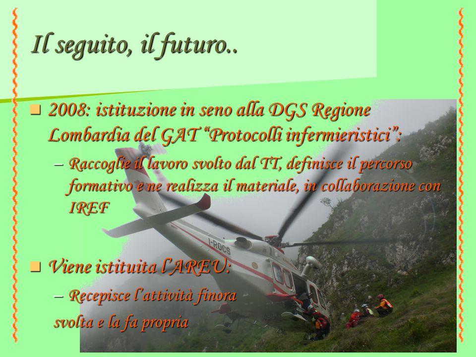 """Il seguito, il futuro.. 2008: istituzione in seno alla DGS Regione Lombardia del GAT """"Protocolli infermieristici"""": 2008: istituzione in seno alla DGS"""
