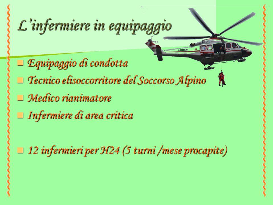 L'infermiere in equipaggio Equipaggio di condotta Equipaggio di condotta Tecnico elisoccorritore del Soccorso Alpino Tecnico elisoccorritore del Socco