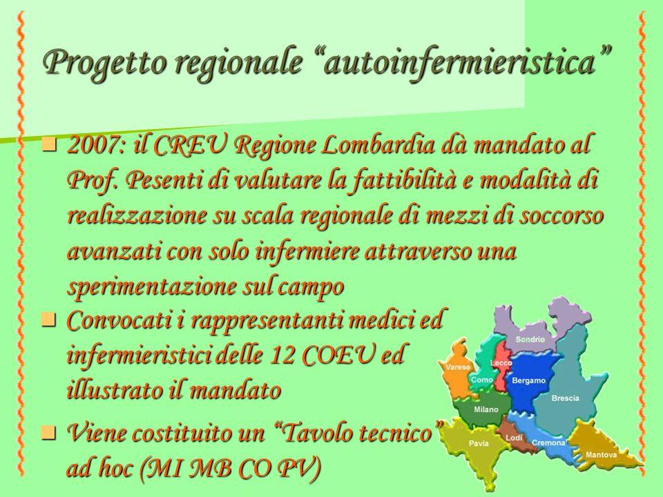 """Progetto regionale """"autoinfermieristica"""" 2007: il CREU Regione Lombardia dà mandato al Prof. Pesenti di valutare la fattibilità e modalità di realizza"""
