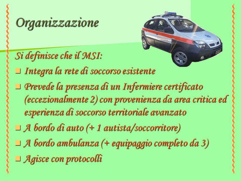 Organizzazione Si definisce che il MSI: Integra la rete di soccorso esistente Integra la rete di soccorso esistente Prevede la presenza di un Infermie