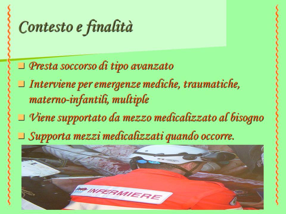 Contesto e finalità Presta soccorso di tipo avanzato Presta soccorso di tipo avanzato Interviene per emergenze mediche, traumatiche, materno-infantili