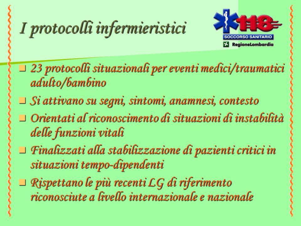 I protocolli infermieristici 23 protocolli situazionali per eventi medici/traumatici adulto/bambino 23 protocolli situazionali per eventi medici/traum