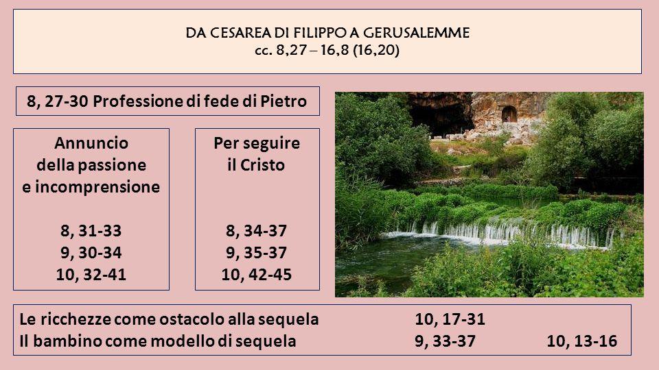 DA CESAREA DI FILIPPO A GERUSALEMME cc. 8,27 – 16,8 (16,20) 8, 27-30Professione di fede di Pietro Annuncio della passione e incomprensione 8, 31-33 9,