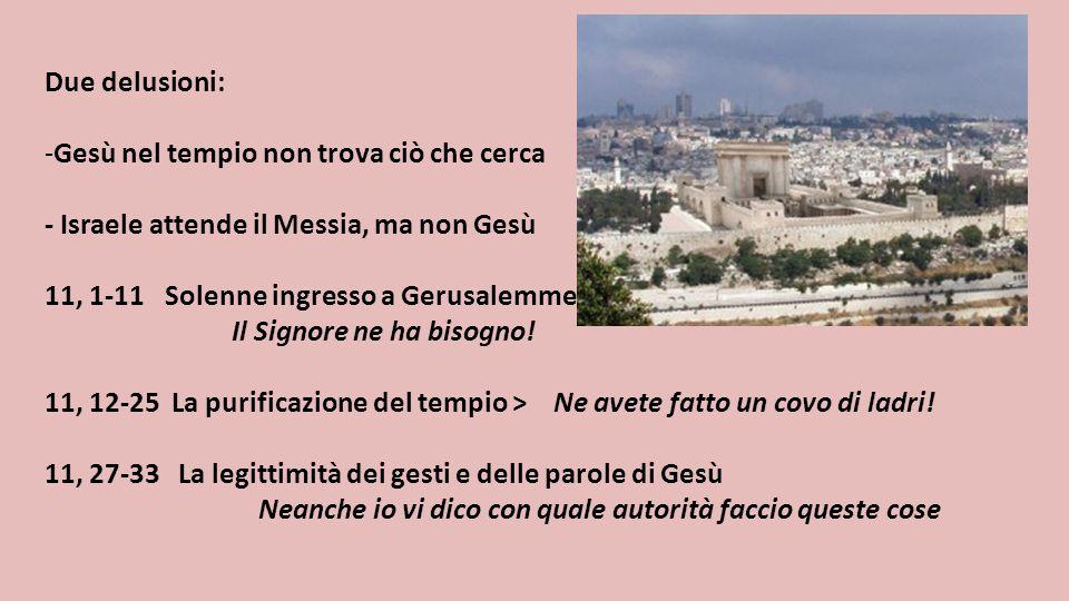 Due delusioni: -Gesù nel tempio non trova ciò che cerca - Israele attende il Messia, ma non Gesù 11, 1-11 Solenne ingresso a Gerusalemme Il Signore ne
