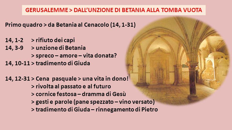 Primo quadro > da Betania al Cenacolo (14, 1-31) 14, 1-2 > rifiuto dei capi 14, 3-9 > unzione di Betania > spreco – amore – vita donata? 14, 10-11 > t