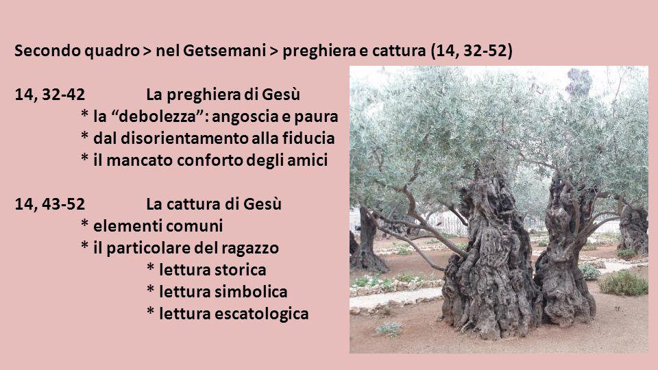 """Secondo quadro > nel Getsemani > preghiera e cattura (14, 32-52) 14, 32-42La preghiera di Gesù * la """"debolezza"""": angoscia e paura * dal disorientament"""