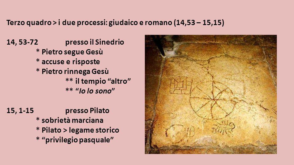 Terzo quadro > i due processi: giudaico e romano (14,53 – 15,15) 14, 53-72presso il Sinedrio * Pietro segue Gesù * accuse e risposte * Pietro rinnega