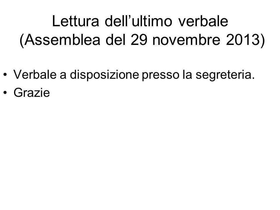 Lettura dell'ultimo verbale (Assemblea del 29 novembre 2013) Verbale a disposizione presso la segreteria. Grazie