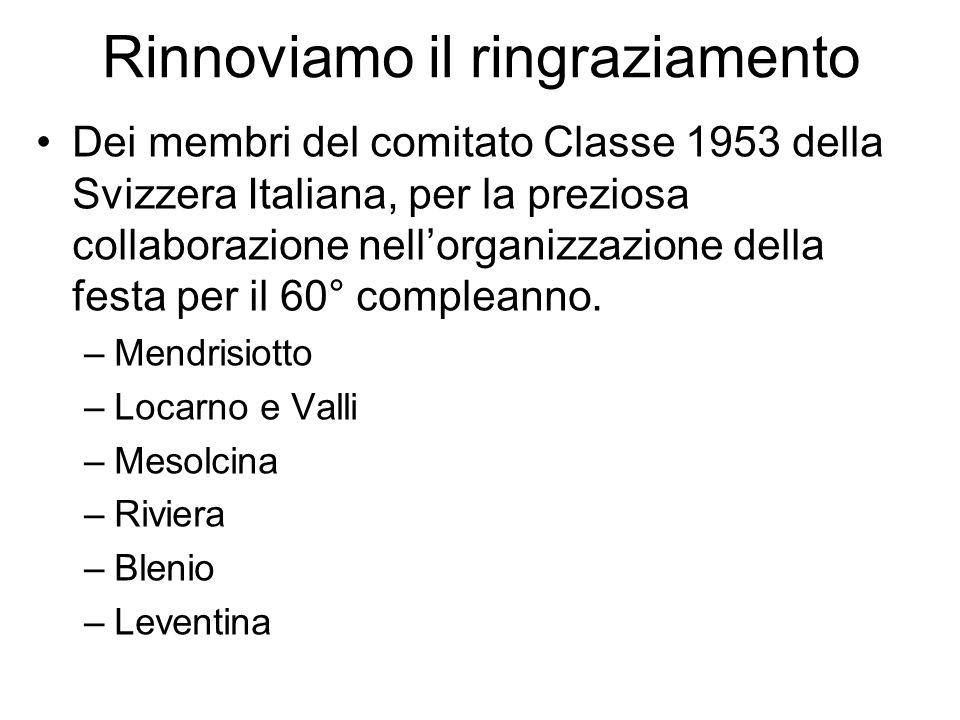 Rinnoviamo il ringraziamento Dei membri del comitato Classe 1953 della Svizzera Italiana, per la preziosa collaborazione nell'organizzazione della fes
