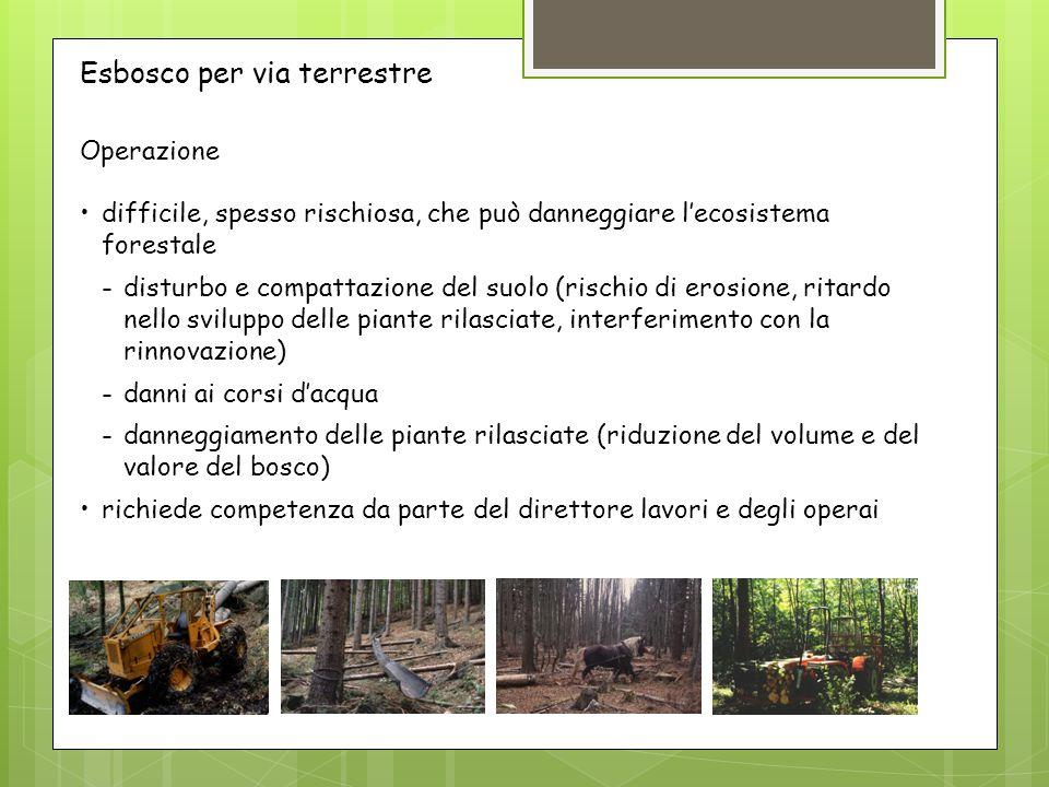 Operazione difficile, spesso rischiosa, che può danneggiare l'ecosistema forestale -disturbo e compattazione del suolo (rischio di erosione, ritardo n