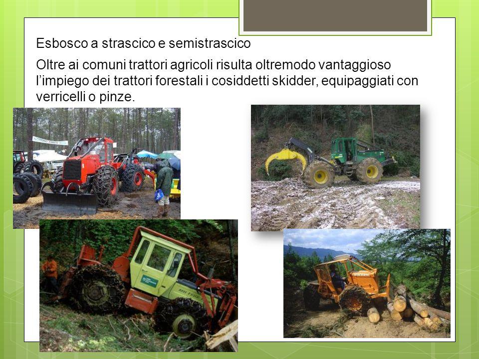 Esbosco a strascico e semistrascico Oltre ai comuni trattori agricoli risulta oltremodo vantaggioso l'impiego dei trattori forestali i cosiddetti skidder, equipaggiati con verricelli o pinze.