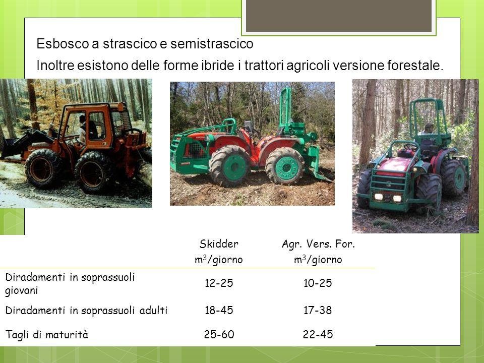 Esbosco a strascico e semistrascico Inoltre esistono delle forme ibride i trattori agricoli versione forestale. Skidder m 3 /giorno Agr. Vers. For. m