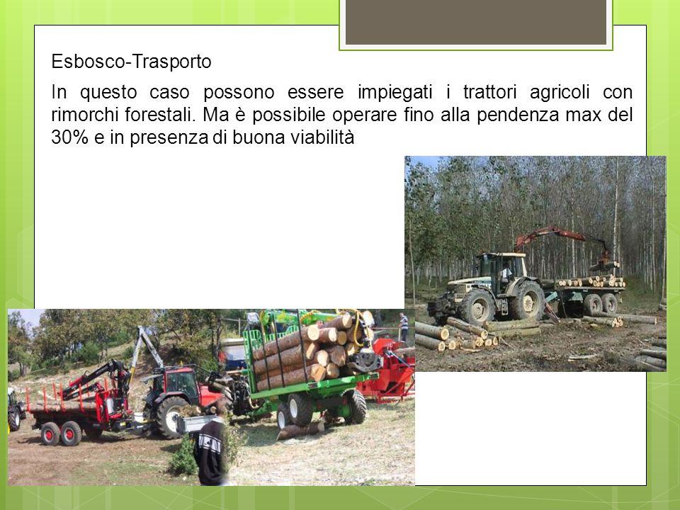 Esbosco-Trasporto In questo caso possono essere impiegati i trattori agricoli con rimorchi forestali. Ma è possibile operare fino alla pendenza max de