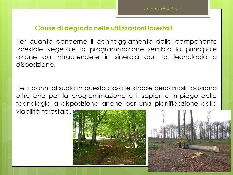Cause di degrado nelle utilizzazioni forestali r.picchio@unitus.it Per quanto concerne il danneggiamento della componente forestale vegetale la programmazione sembra la principale azione da intraprendere in sinergia con la tecnologia a disposizione.