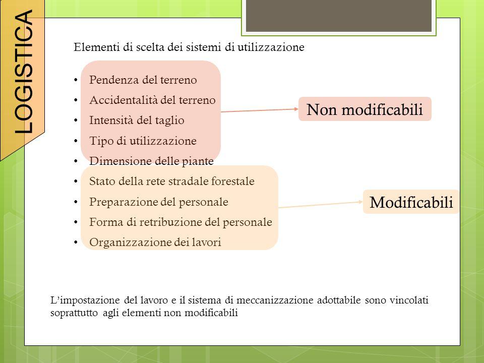 Elementi di scelta dei sistemi di utilizzazione Pendenza del terreno Accidentalità del terreno Intensità del taglio Tipo di utilizzazione Dimensione d