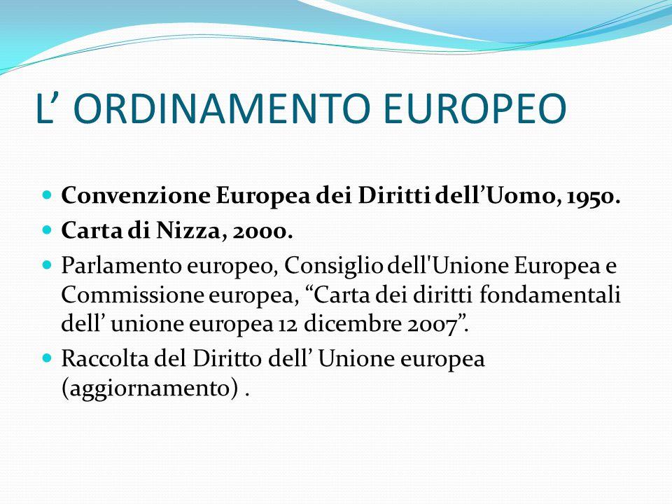 L' ORDINAMENTO EUROPEO Convenzione Europea dei Diritti dell'Uomo, 1950.