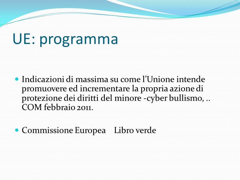 UE: programma Indicazioni di massima su come l'Unione intende promuovere ed incrementare la propria azione di protezione dei diritti del minore -cyber bullismo,..