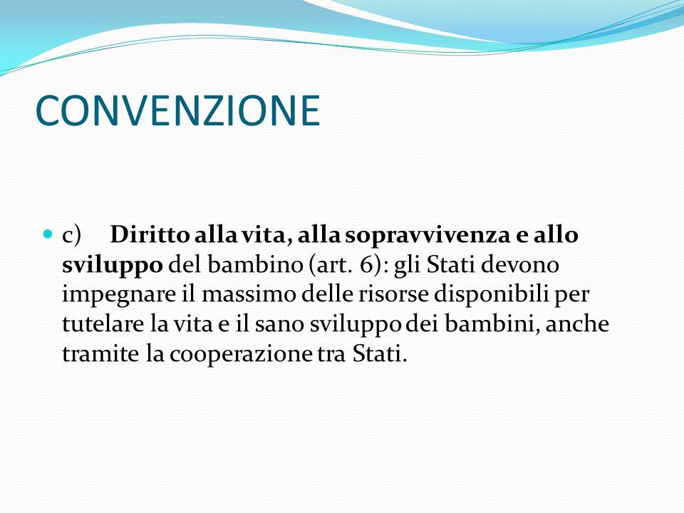 CONVENZIONE c)Diritto alla vita, alla sopravvivenza e allo sviluppo del bambino (art.