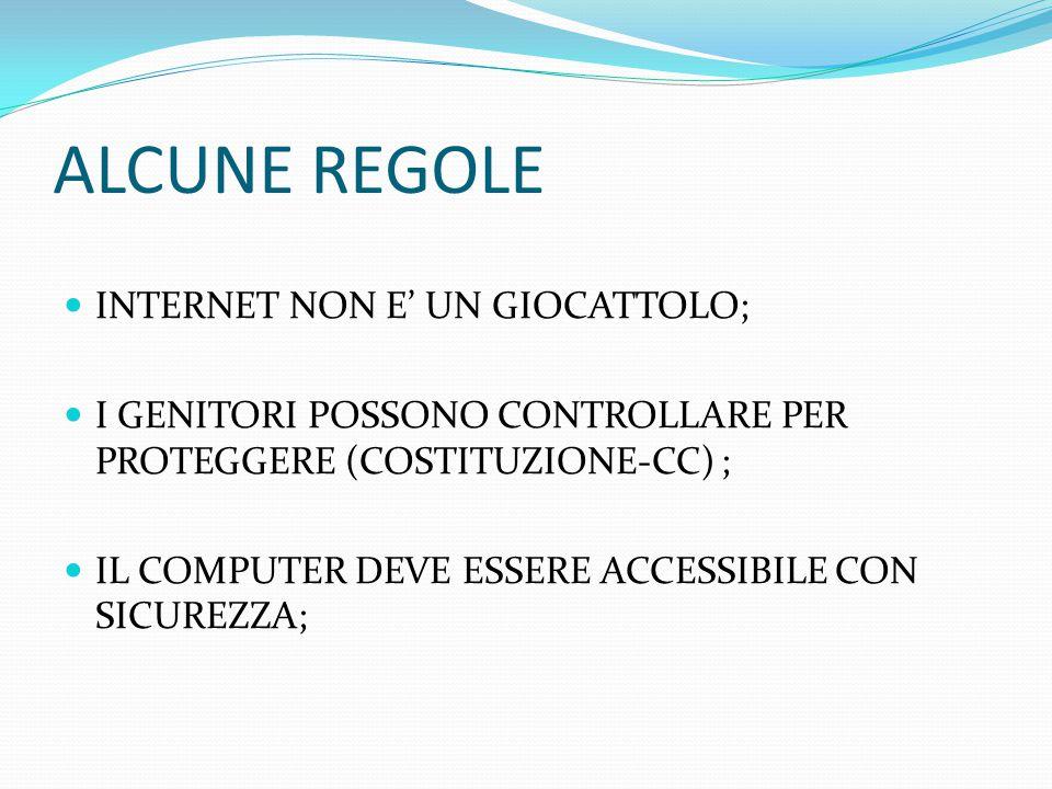 ALCUNE REGOLE INTERNET NON E' UN GIOCATTOLO; I GENITORI POSSONO CONTROLLARE PER PROTEGGERE (COSTITUZIONE-CC) ; IL COMPUTER DEVE ESSERE ACCESSIBILE CON SICUREZZA;
