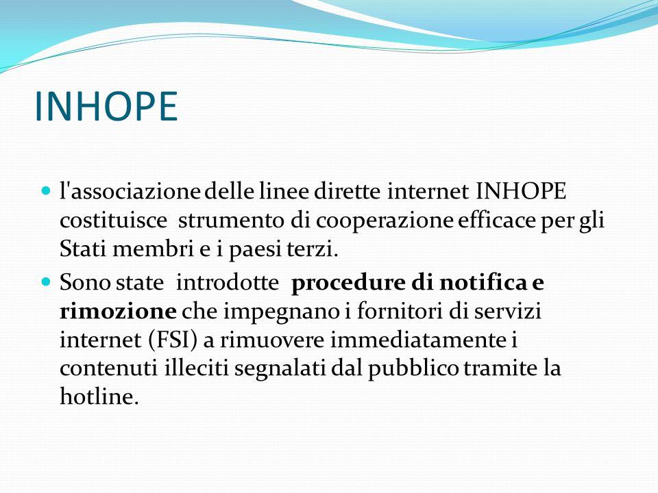 INHOPE l associazione delle linee dirette internet INHOPE costituisce strumento di cooperazione efficace per gli Stati membri e i paesi terzi.