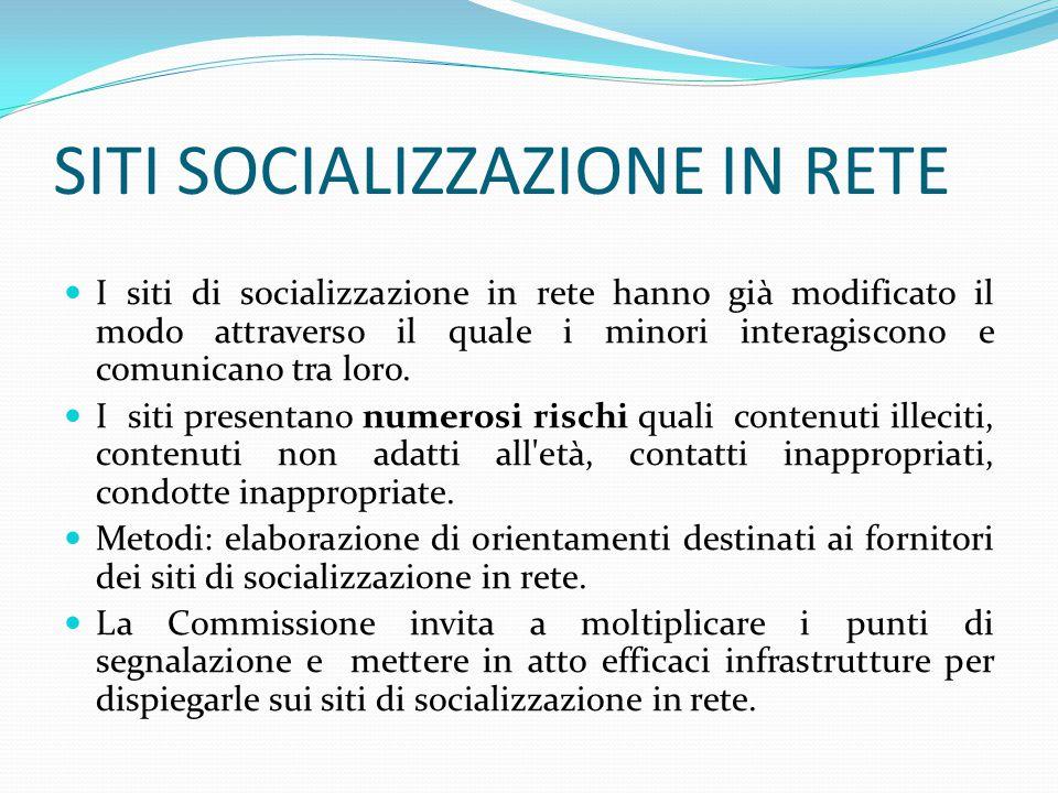 SITI SOCIALIZZAZIONE IN RETE I siti di socializzazione in rete hanno già modificato il modo attraverso il quale i minori interagiscono e comunicano tra loro.