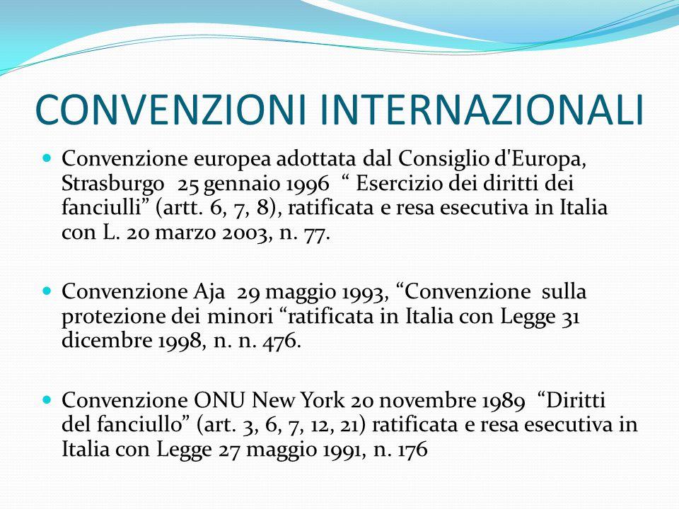 CONVENZIONI INTERNAZIONALI Convenzione europea adottata dal Consiglio d Europa, Strasburgo 25 gennaio 1996 Esercizio dei diritti dei fanciulli (artt.