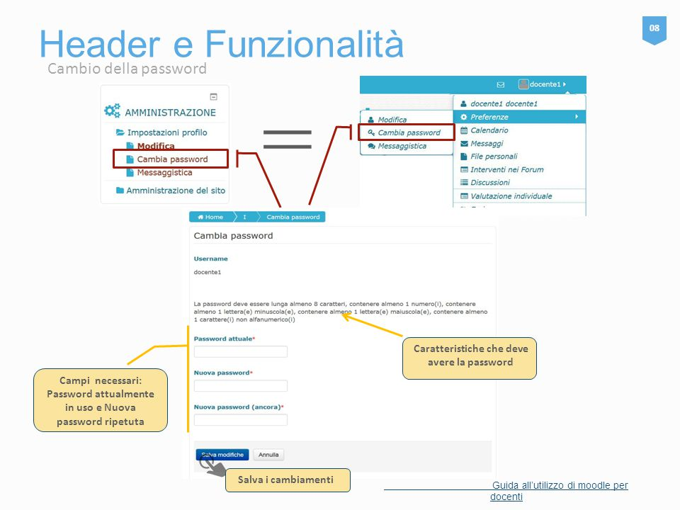 Header e Funzionalità 08 Guida all'utilizzo di moodle per docenti = Salva i cambiamenti Caratteristiche che deve avere la password Campi necessari: Password attualmente in uso e Nuova password ripetuta Cambio della password
