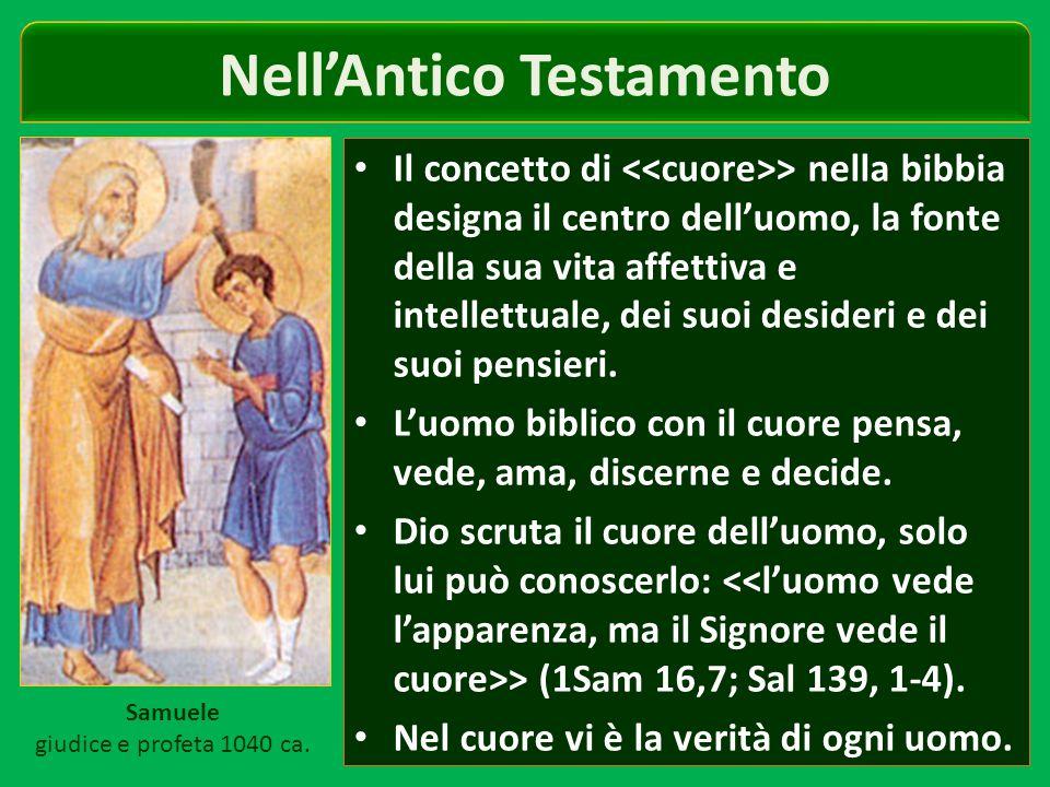 Nell'Antico Testamento Il concetto di > nella bibbia designa il centro dell'uomo, la fonte della sua vita affettiva e intellettuale, dei suoi desideri e dei suoi pensieri.