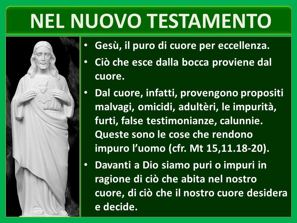 NEL NUOVO TESTAMENTO Gesù, il puro di cuore per eccellenza.