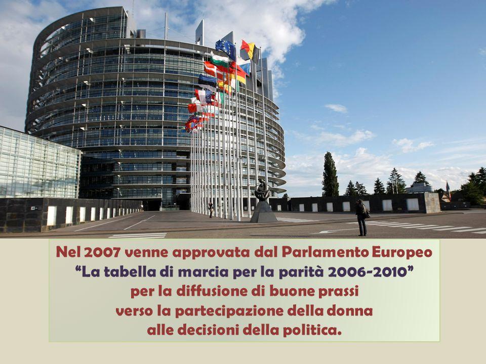Nel 2007 venne approvata dal Parlamento Europeo La tabella di marcia per la parità 2006-2010 per la diffusione di buone prassi verso la partecipazione della donna alle decisioni della politica.