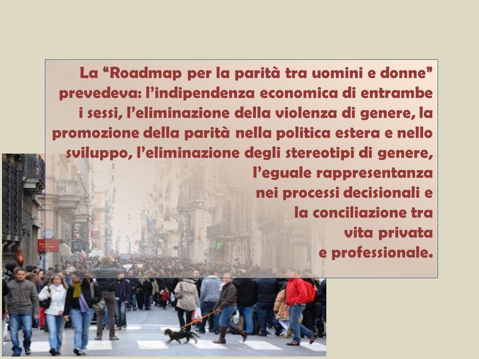 La Roadmap per la parità tra uomini e donne prevedeva: l'indipendenza economica di entrambe i sessi, l'eliminazione della violenza di genere, la promozione della parità nella politica estera e nello sviluppo, l'eliminazione degli stereotipi di genere, l'eguale rappresentanza nei processi decisionali e la conciliazione tra vita privata e professionale.