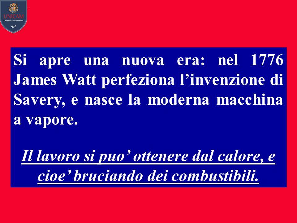 Si apre una nuova era: nel 1776 James Watt perfeziona l'invenzione di Savery, e nasce la moderna macchina a vapore. Il lavoro si puo' ottenere dal cal
