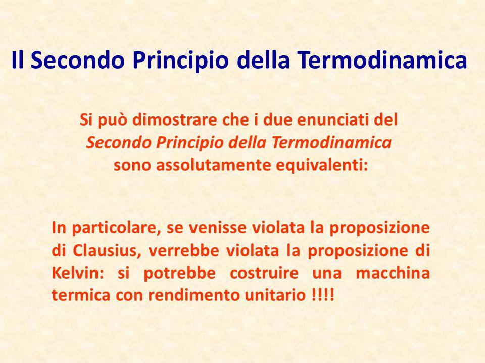 Il Secondo Principio della Termodinamica Si può dimostrare che i due enunciati del Secondo Principio della Termodinamica sono assolutamente equivalent