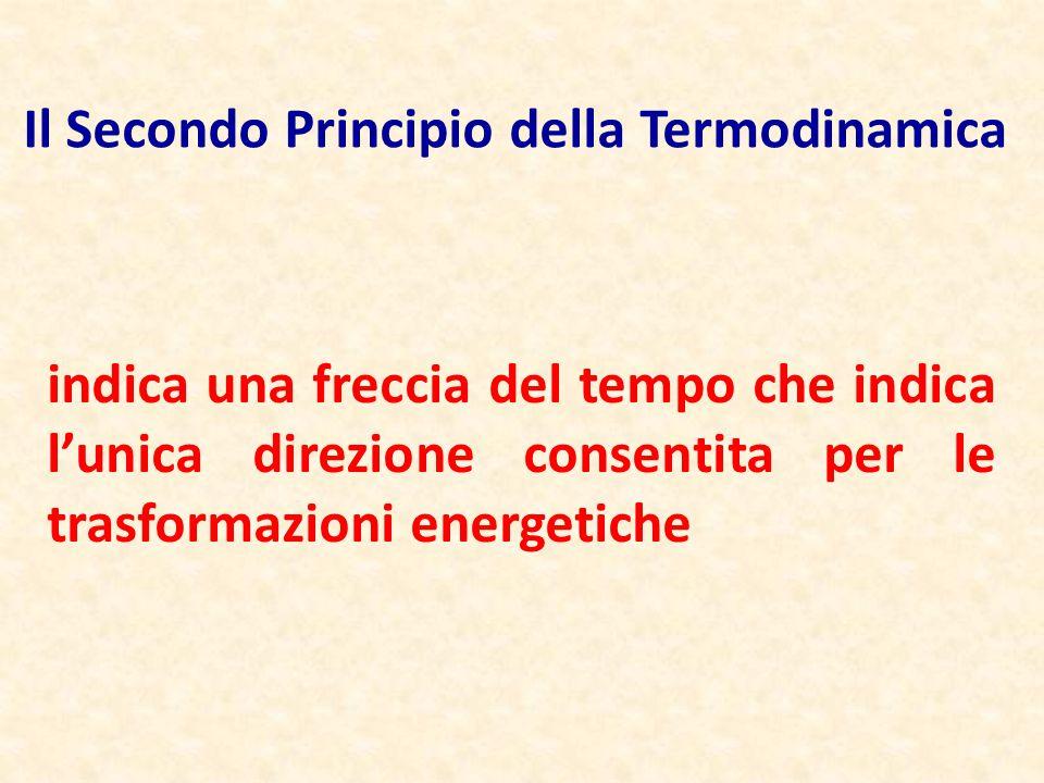 indica una freccia del tempo che indica l'unica direzione consentita per le trasformazioni energetiche Il Secondo Principio della Termodinamica